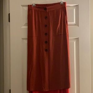 Rust colored button up skirt